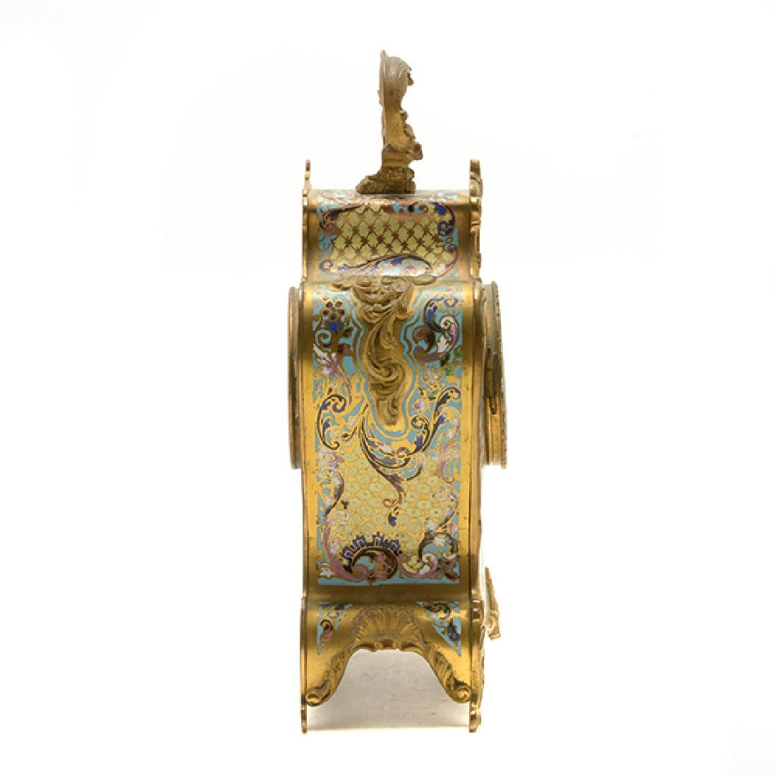 Louis XV Gilt Bronze Champleve Enamel Mantel Clock - 4