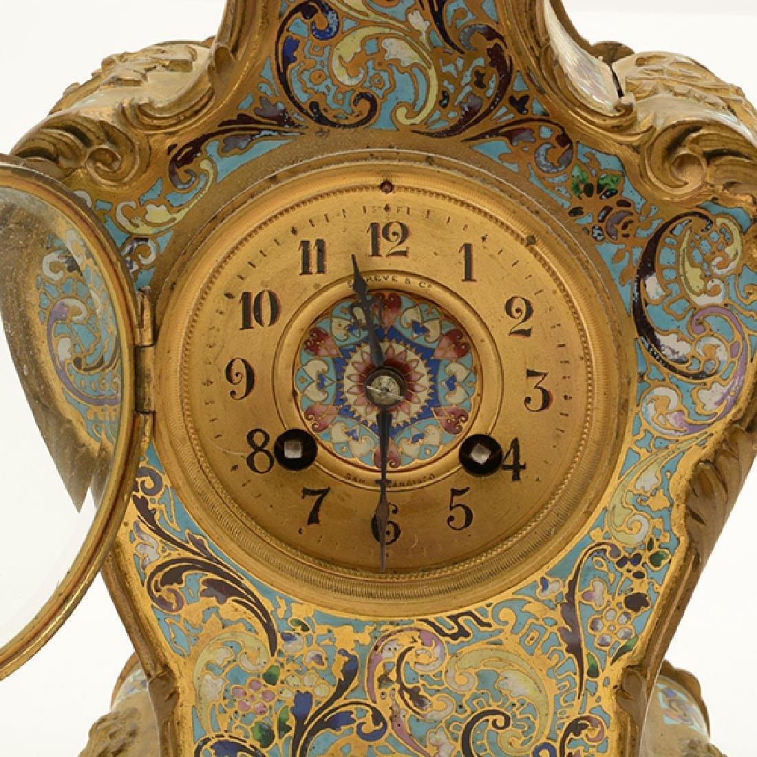 Louis XV Gilt Bronze Champleve Enamel Mantel Clock - 5