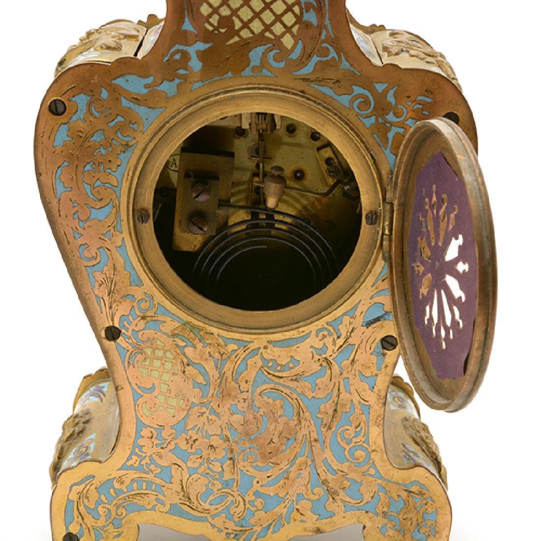 Louis XV Gilt Bronze Champleve Enamel Mantel Clock - 6