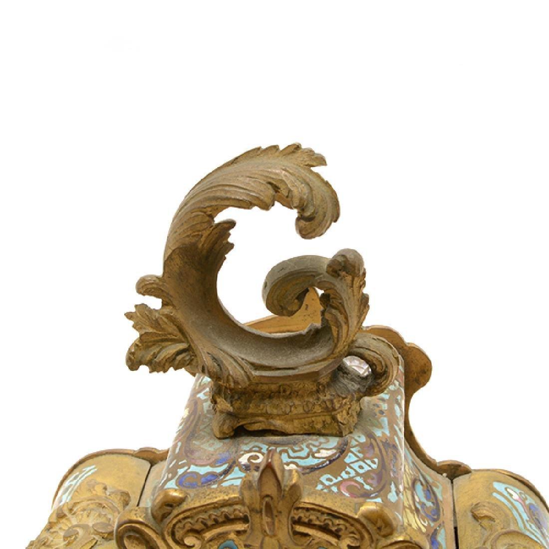 Louis XV Gilt Bronze Champleve Enamel Mantel Clock - 7