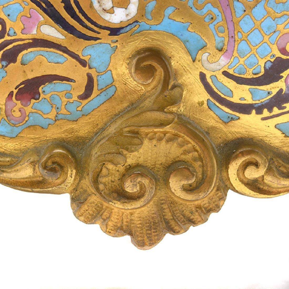 Louis XV Gilt Bronze Champleve Enamel Mantel Clock - 8