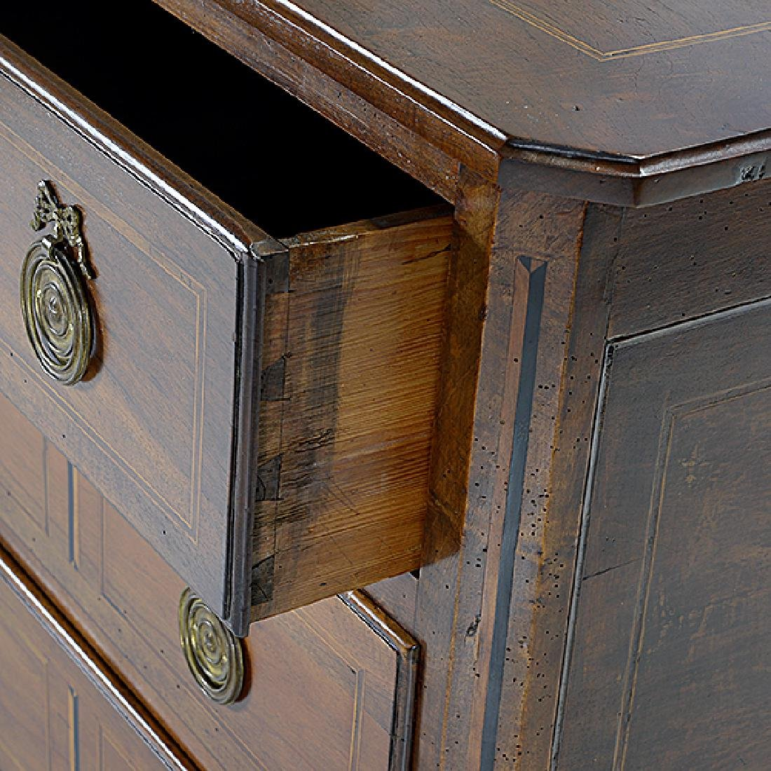 French Provincial Walnut Inlaid Commode - 3