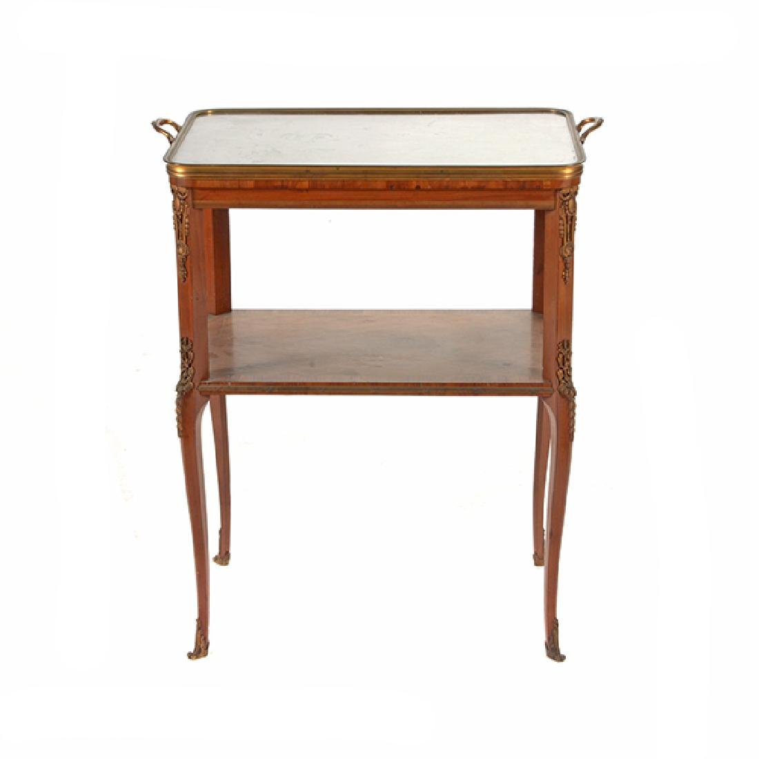 Louis XVI Style Gilt Bronze Mounted Parquetry and