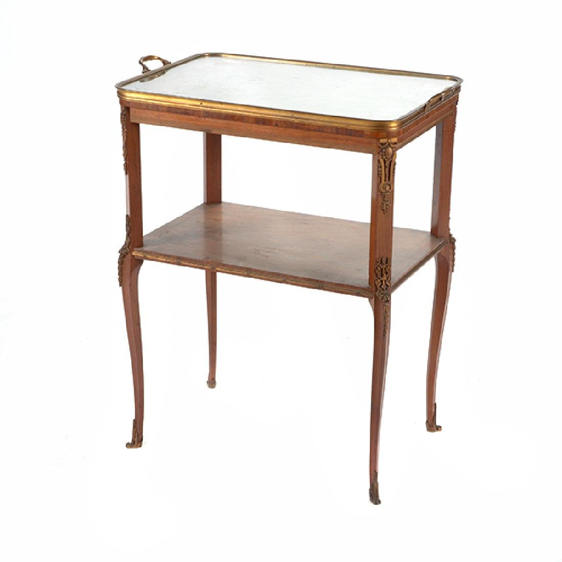 Louis XVI Style Gilt Bronze Mounted Parquetry and - 2