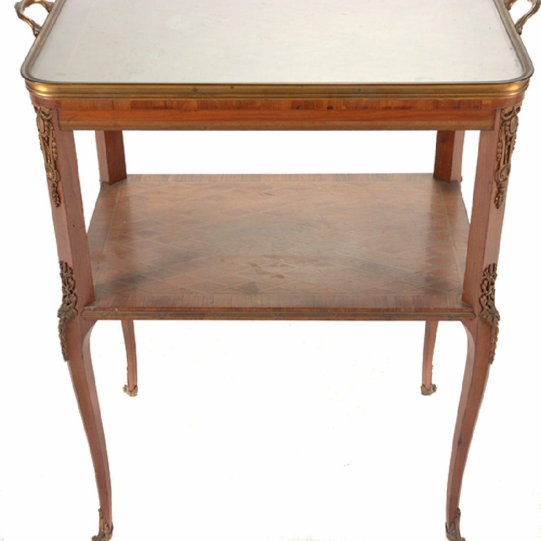 Louis XVI Style Gilt Bronze Mounted Parquetry and - 6