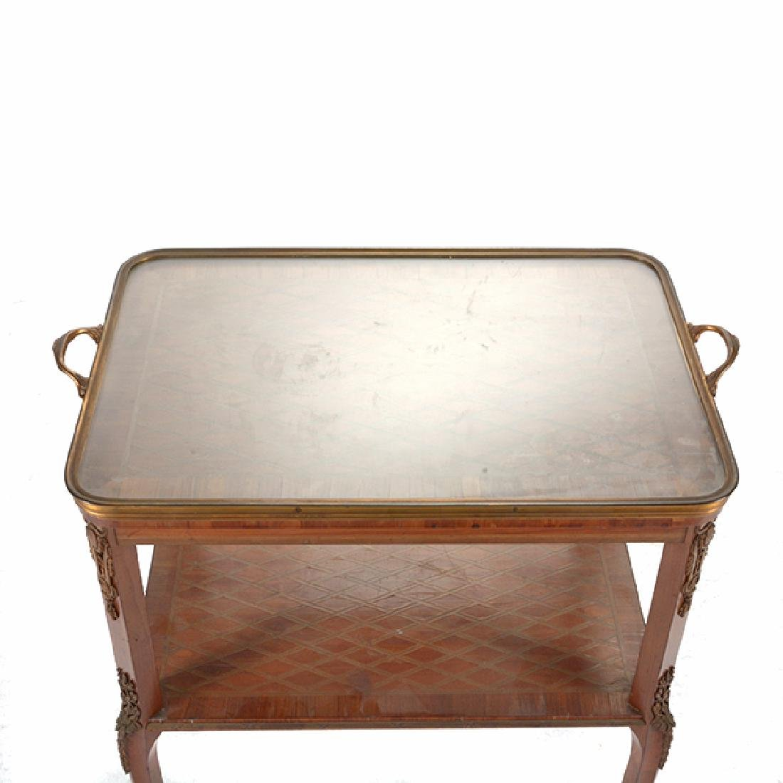 Louis XVI Style Gilt Bronze Mounted Parquetry and - 8