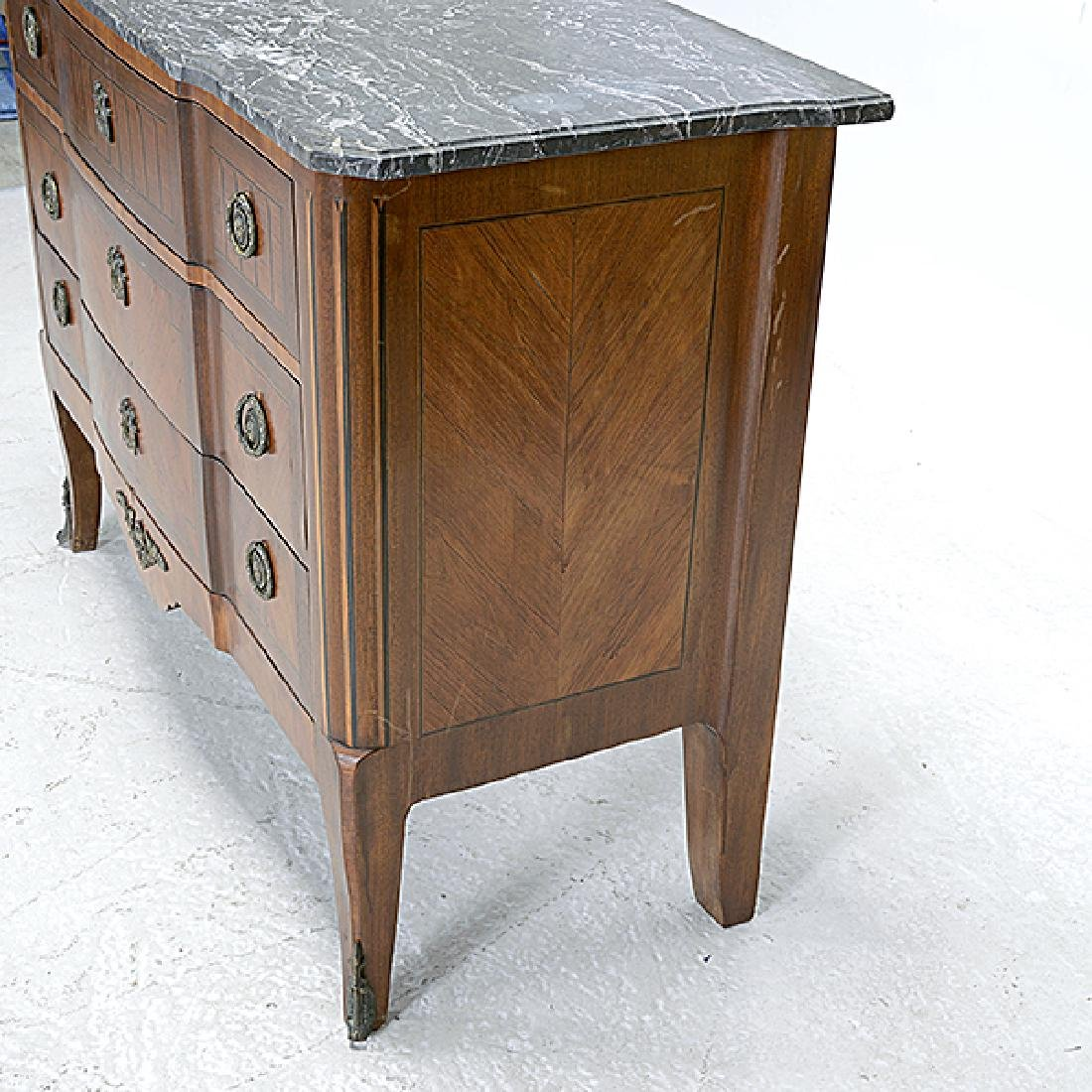 Louis XVI Style Marble Top Kingwood Marquetry Commode - 2