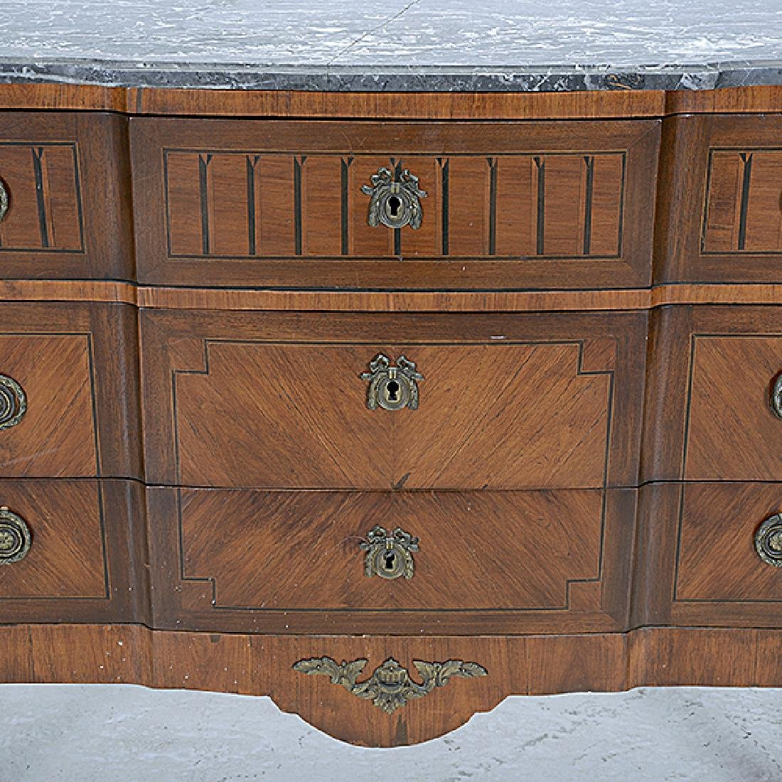 Louis XVI Style Marble Top Kingwood Marquetry Commode - 4