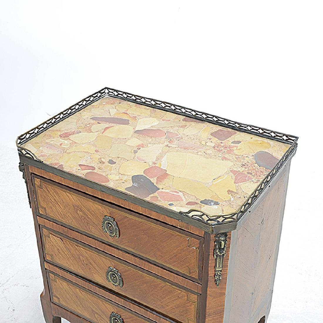 Louis XVI Style Kingwood Marquetry Commode with Breche - 2