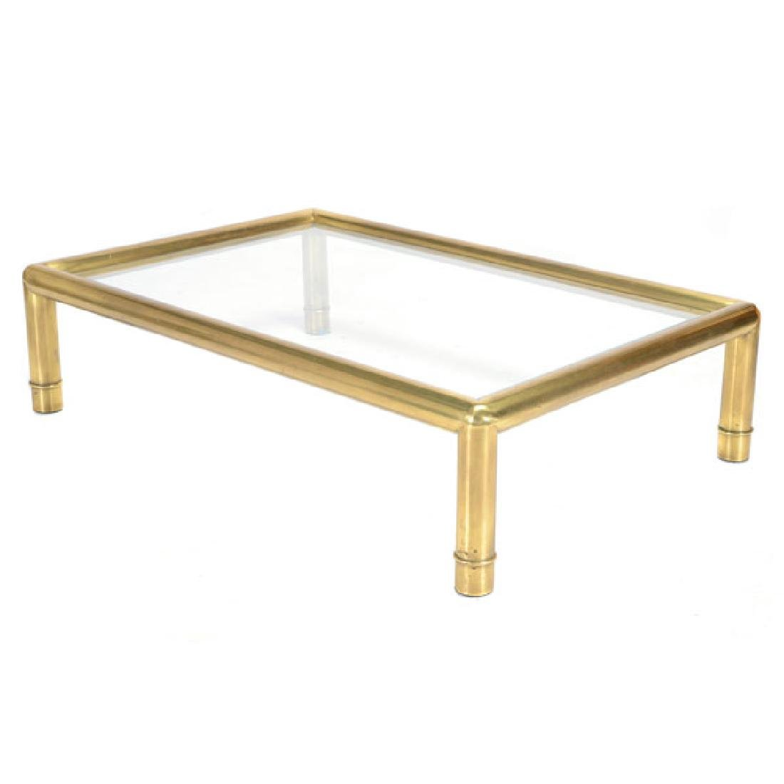 Mastercraft Brass Coffee Table with Glass Top