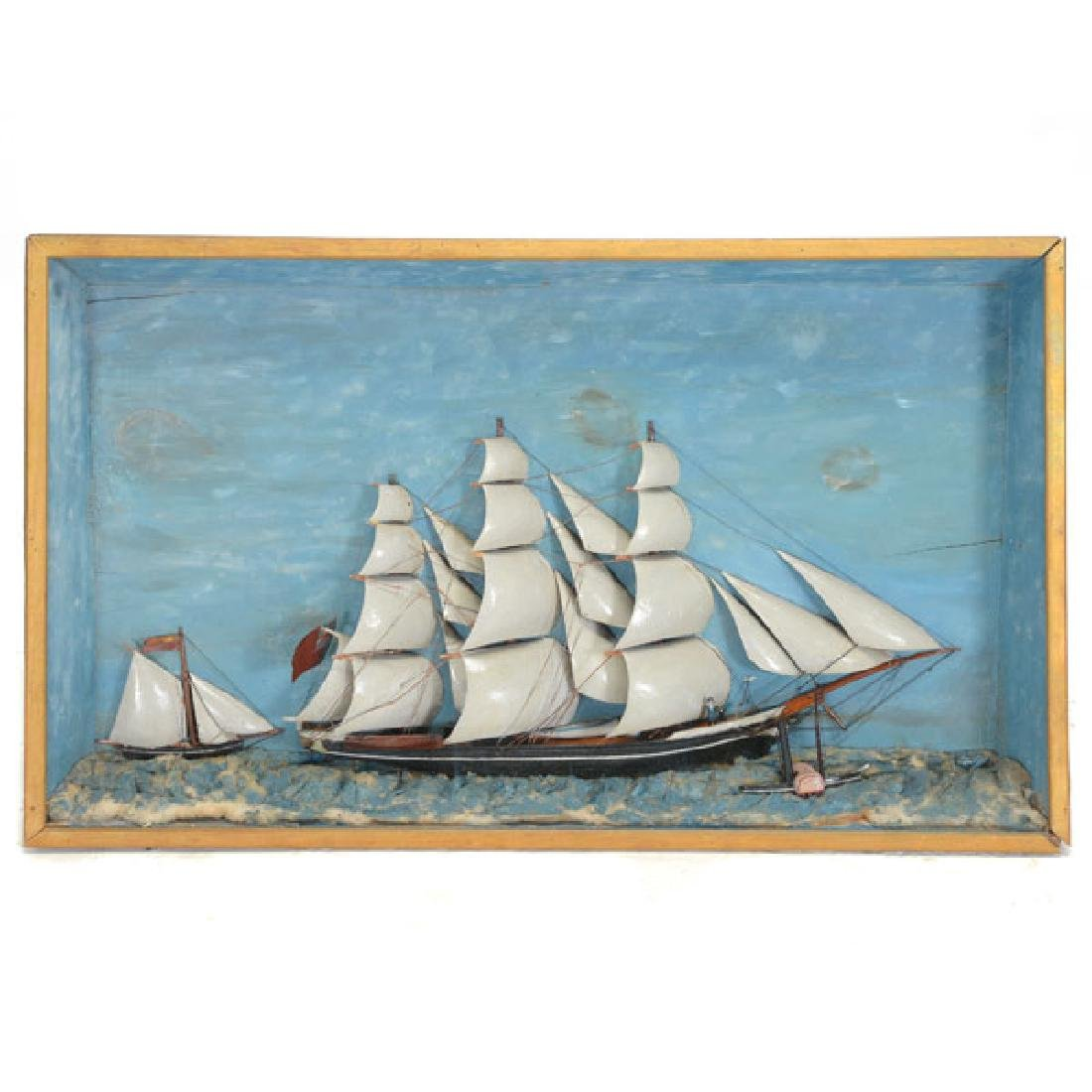 Framed Diorama of Three Mast Ship