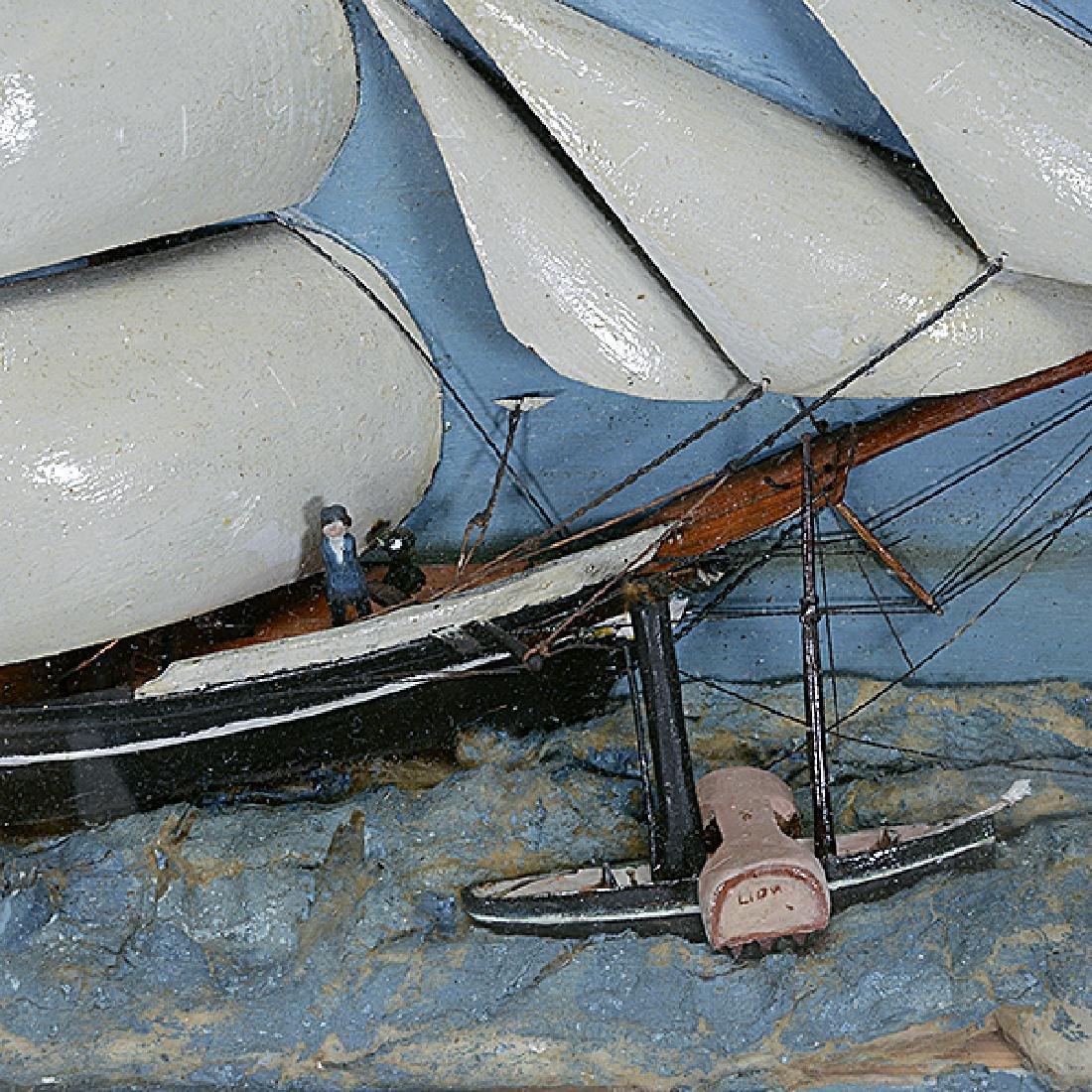 Framed Diorama of Three Mast Ship - 2