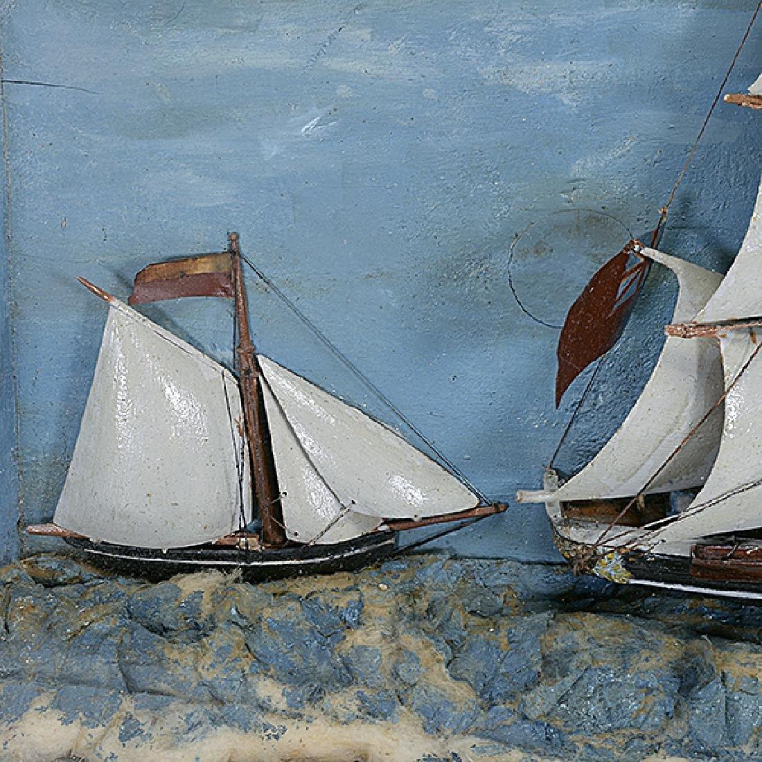 Framed Diorama of Three Mast Ship - 3