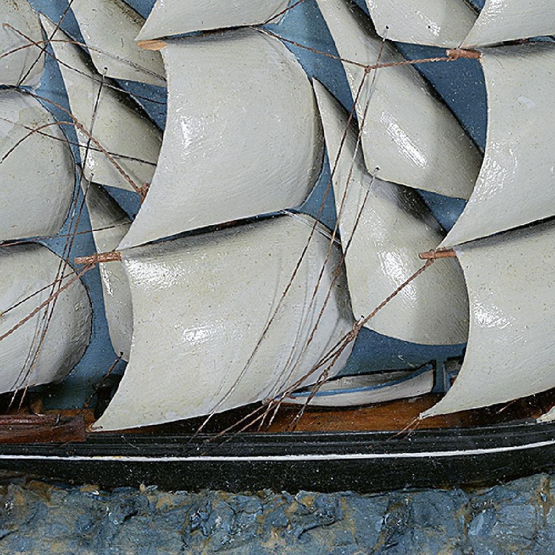 Framed Diorama of Three Mast Ship - 4