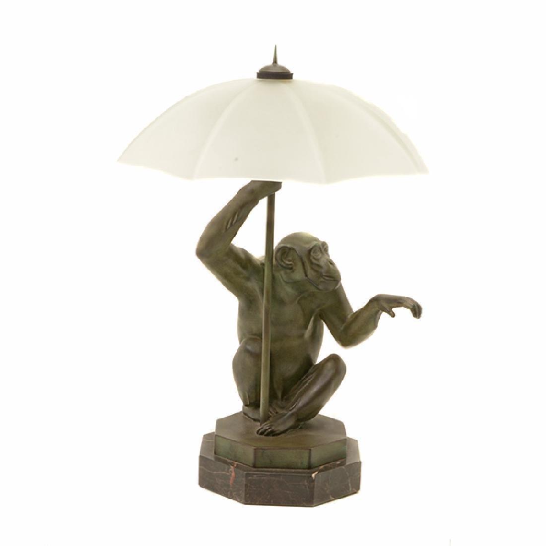 Bronze Monkey Figural Lamp with Glass Umbrella Form