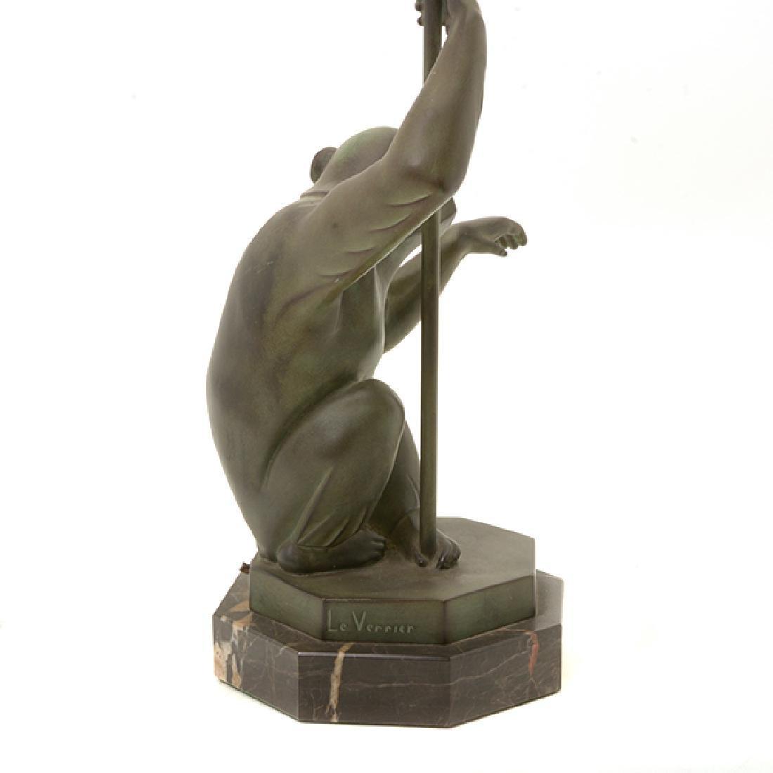 Bronze Monkey Figural Lamp with Glass Umbrella Form - 2