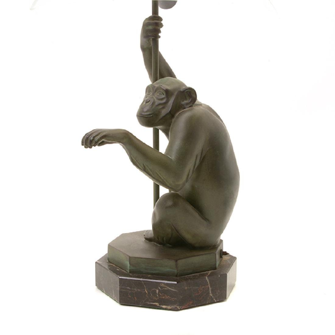 Bronze Monkey Figural Lamp with Glass Umbrella Form - 4