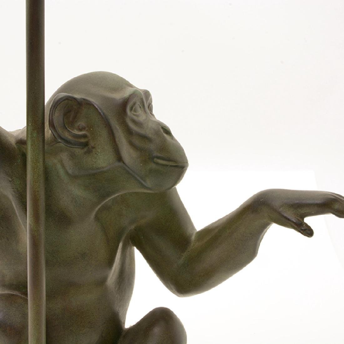 Bronze Monkey Figural Lamp with Glass Umbrella Form - 5