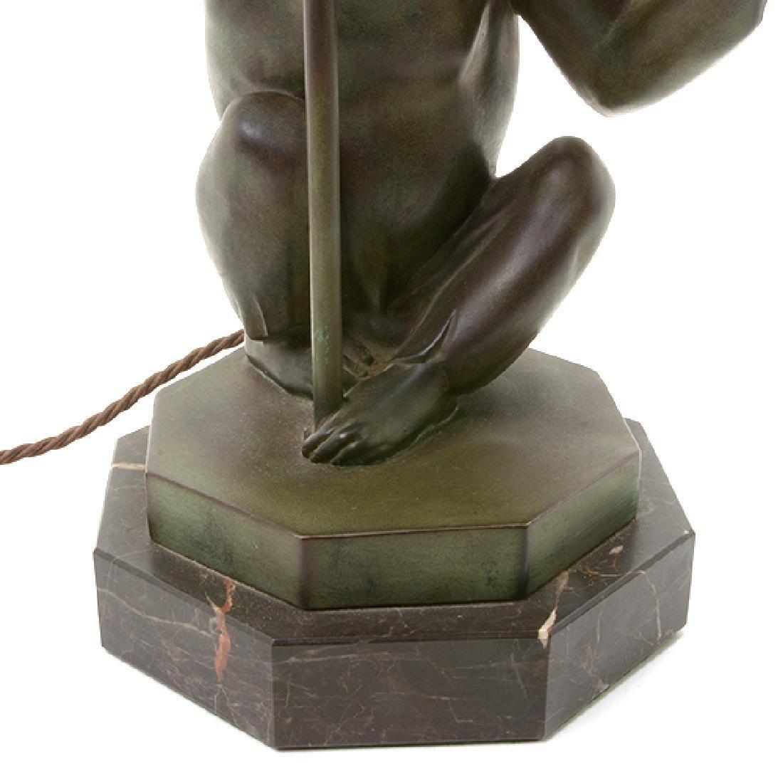 Bronze Monkey Figural Lamp with Glass Umbrella Form - 6