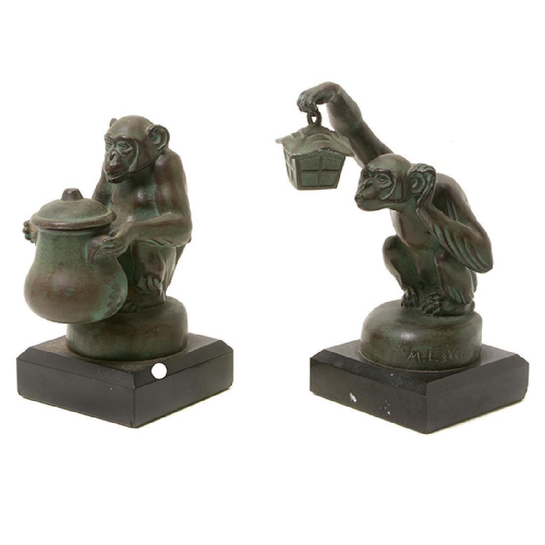 Pair of Bronze Monkey Figures, After M. LeVerrier