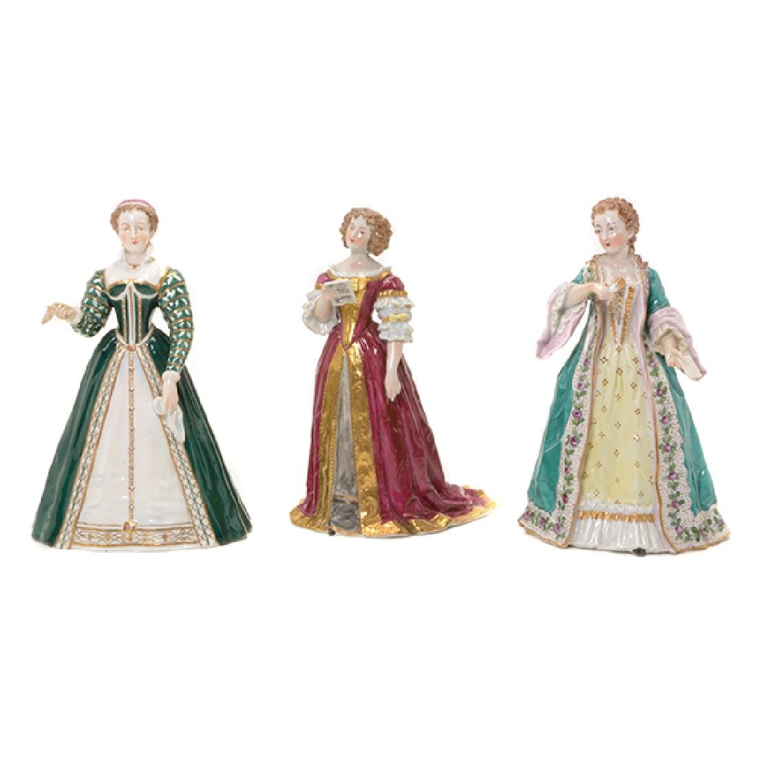 Collection of Three French Porcelain Court Lady Figures
