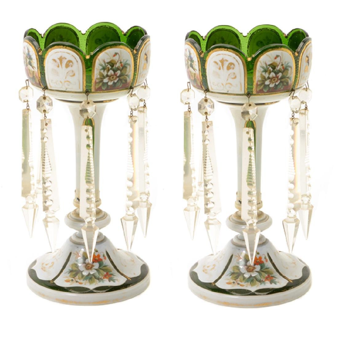 Pair Bohemian Gilt Green Glass Lustres Hung with Prisms