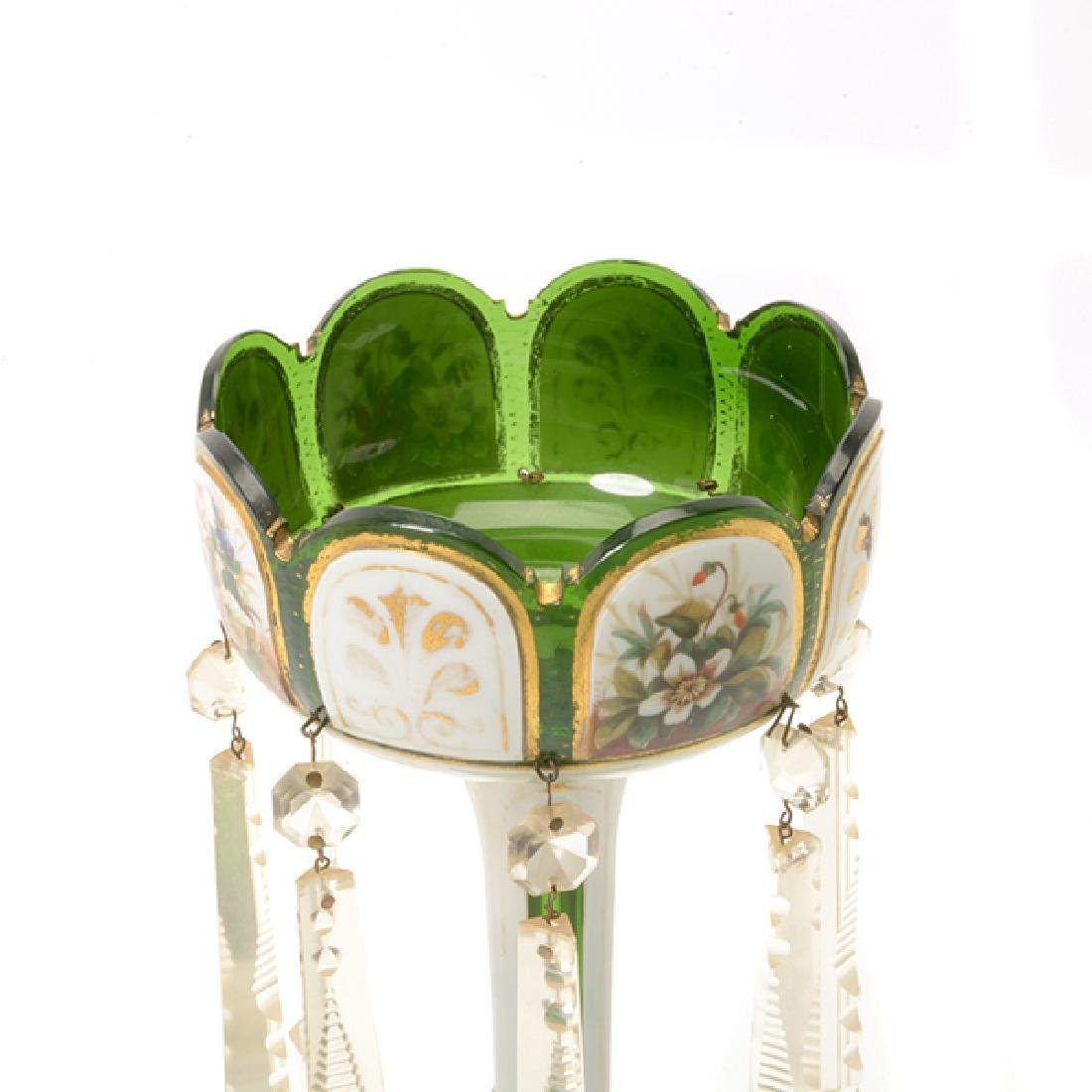 Pair Bohemian Gilt Green Glass Lustres Hung with Prisms - 2