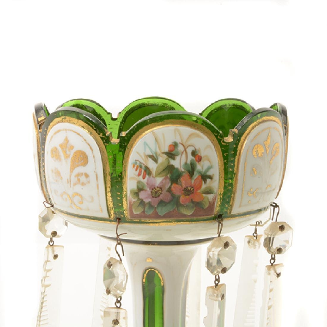 Pair Bohemian Gilt Green Glass Lustres Hung with Prisms - 4