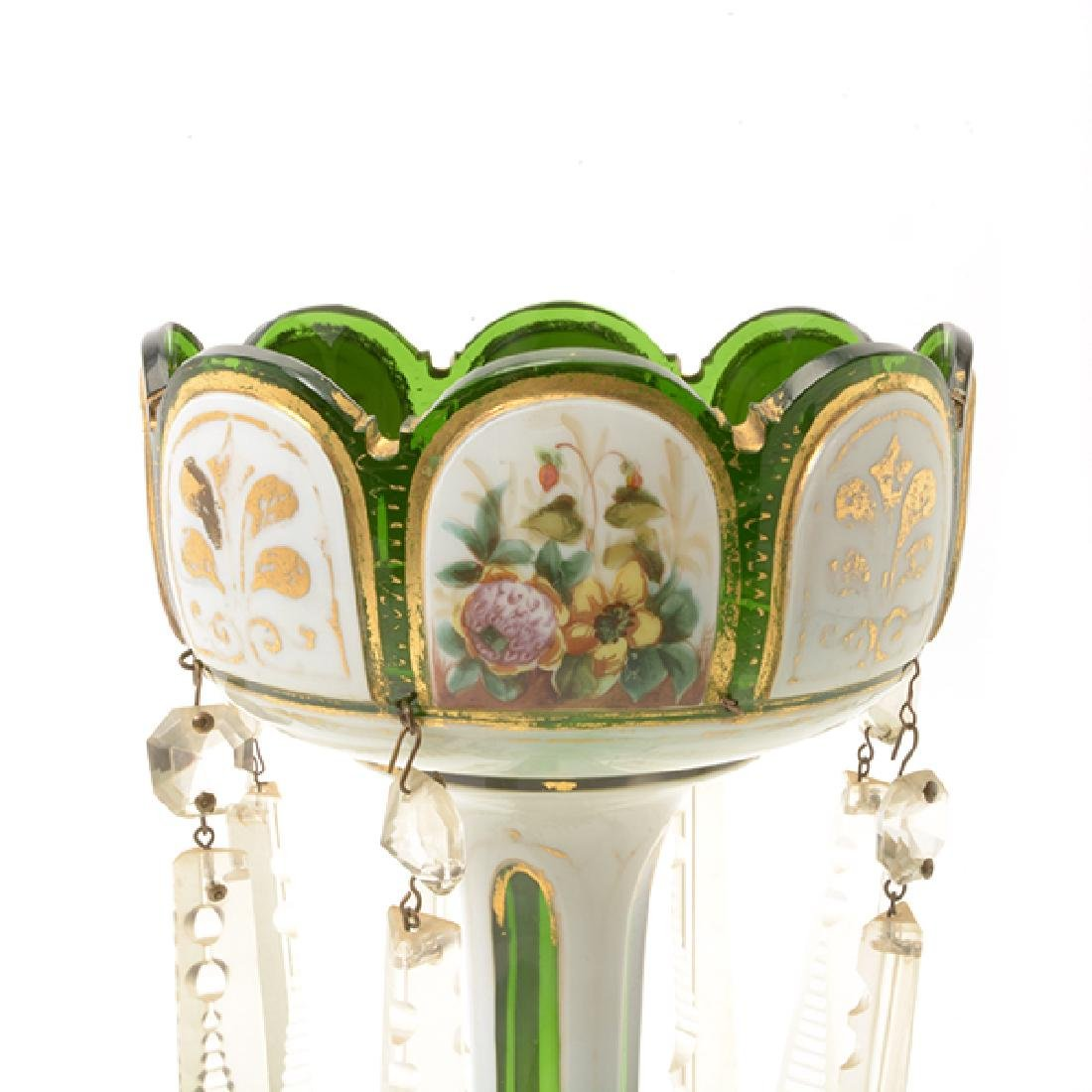 Pair Bohemian Gilt Green Glass Lustres Hung with Prisms - 5