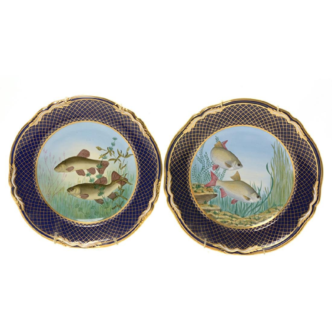Twelve Spode Plates of Ducks, Fish, and Wildflowers