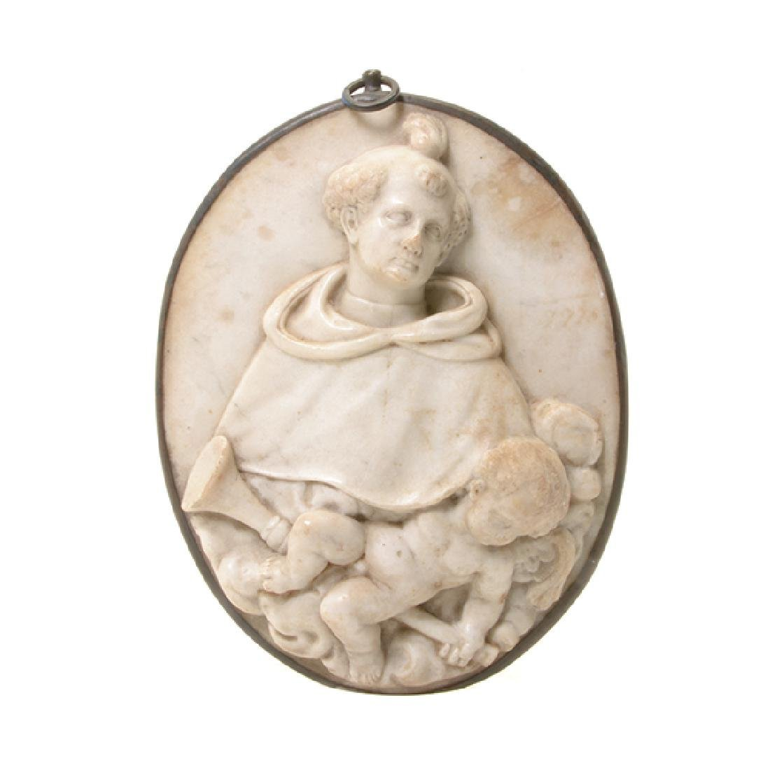 Continental Marble Plaque of Saint with Cherub