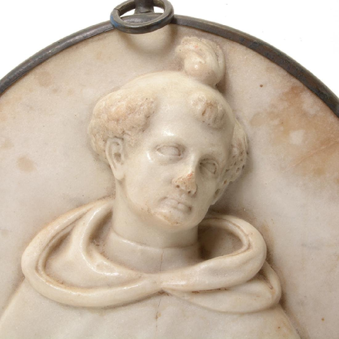 Continental Marble Plaque of Saint with Cherub - 2