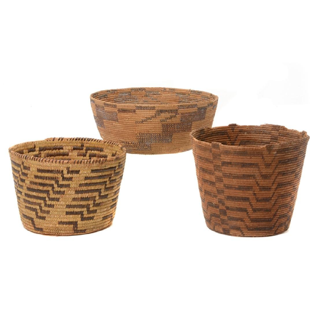 Three Native American Hand Woven Baskets