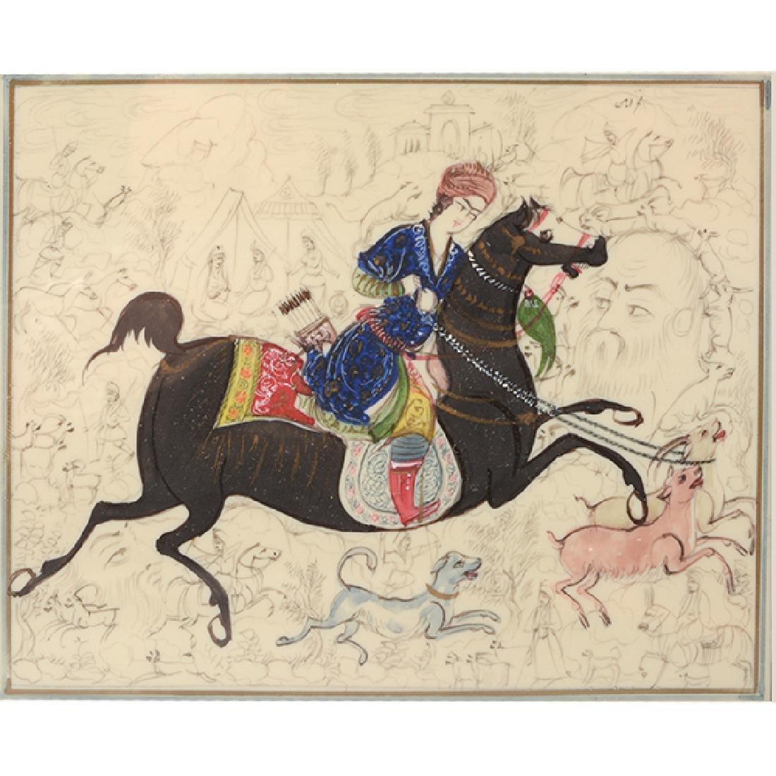 Three Persian Miniature Paintings - 5