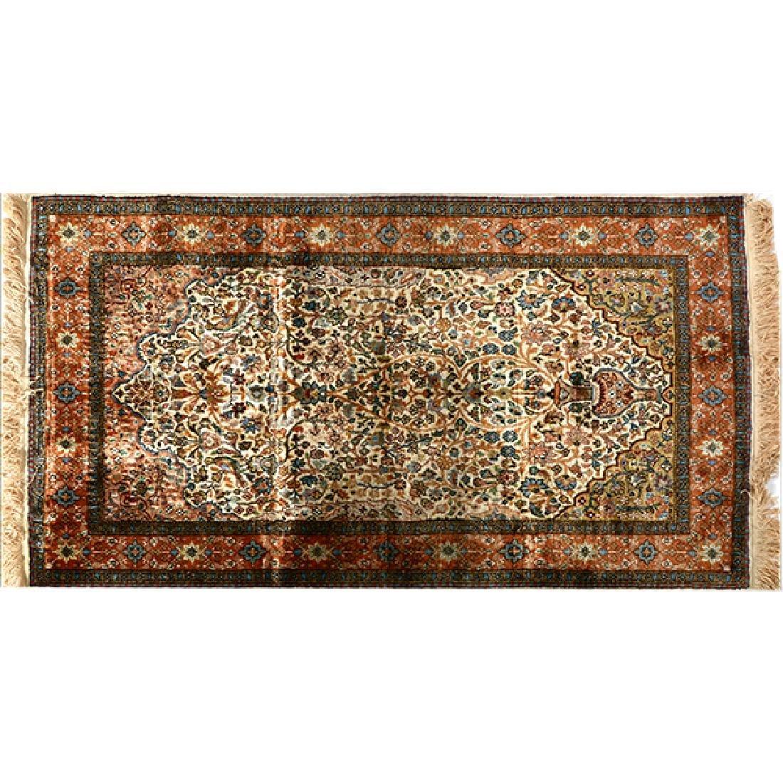 Egyptian Silk Prayer Rug: 2 feet 6 inches x 4 feet 3
