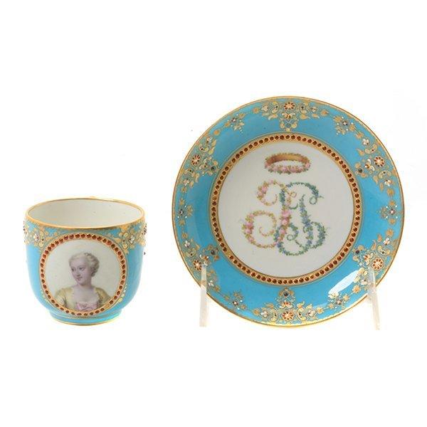 Sevres Celeste Blue Porcelain Cup and Saucer