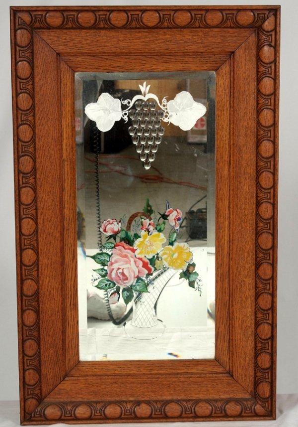 1: Antique Oak Hanging Mirror, 19th Century Reverse Pai
