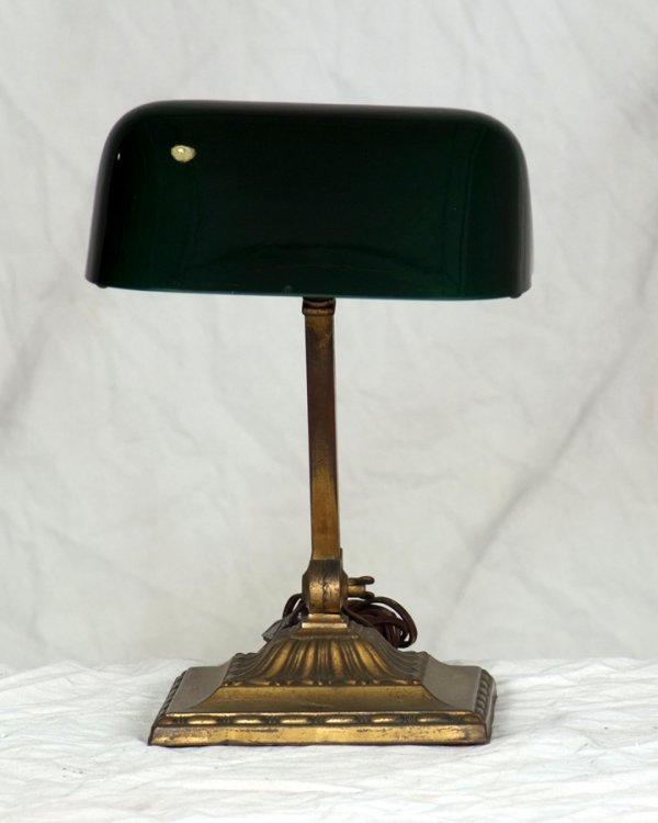 5: Antique Emeralite Desk Lamp,  Signed on shade and ba