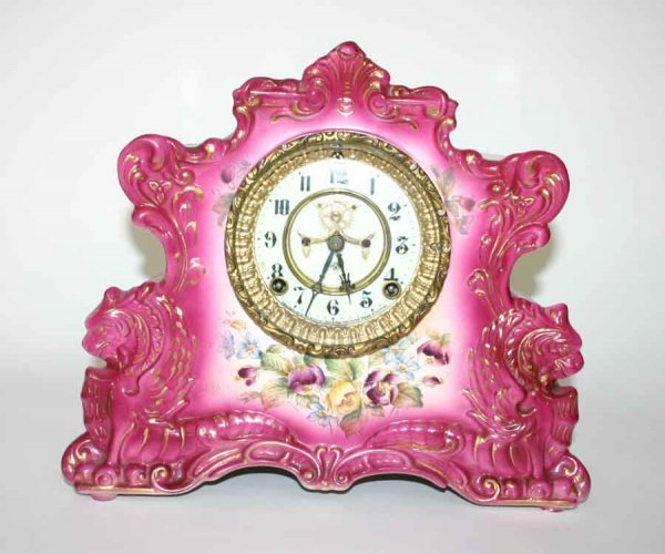 6: Rare Royal Bonn Ansonia Clock with Griffins with ori