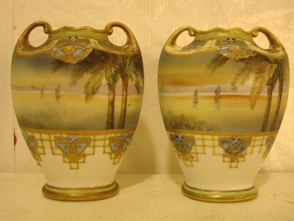 7: Pair of Nippon Scenic Vases, 71/2h x 6w x 4 1/2d
