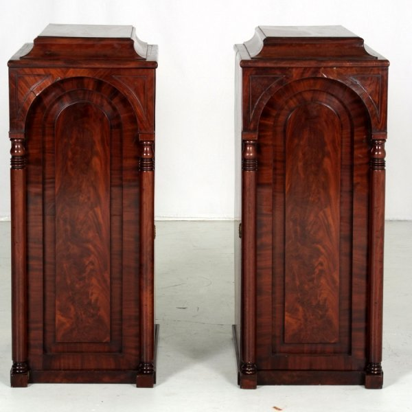 9: Pr. Period Empire Pedestal Stands  made from Mahogan