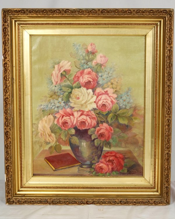 13: Signed Floral  Oil Painting