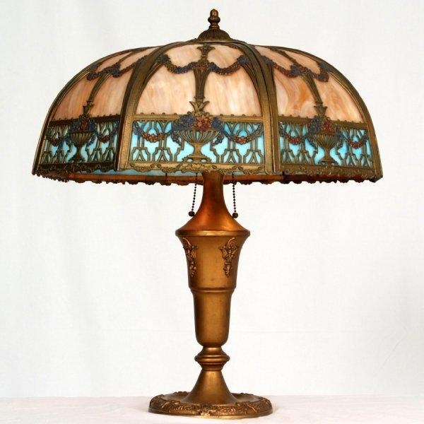 17: Antique Victorian Slag Glass table Lamp, Wonderful