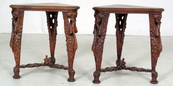 19: Pair Victorian Stands with Storks, Made of Walnut W