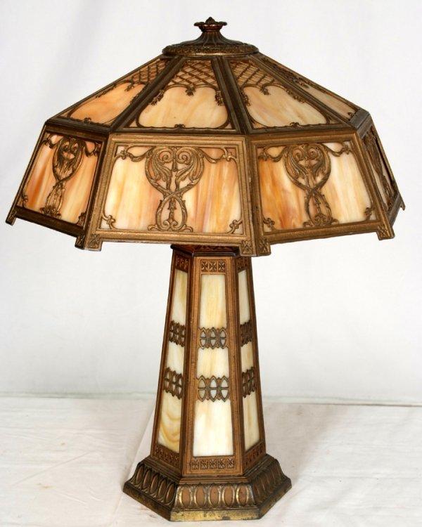 21: Vintage Victorian Slag Glass Parlor Lamp Working Or