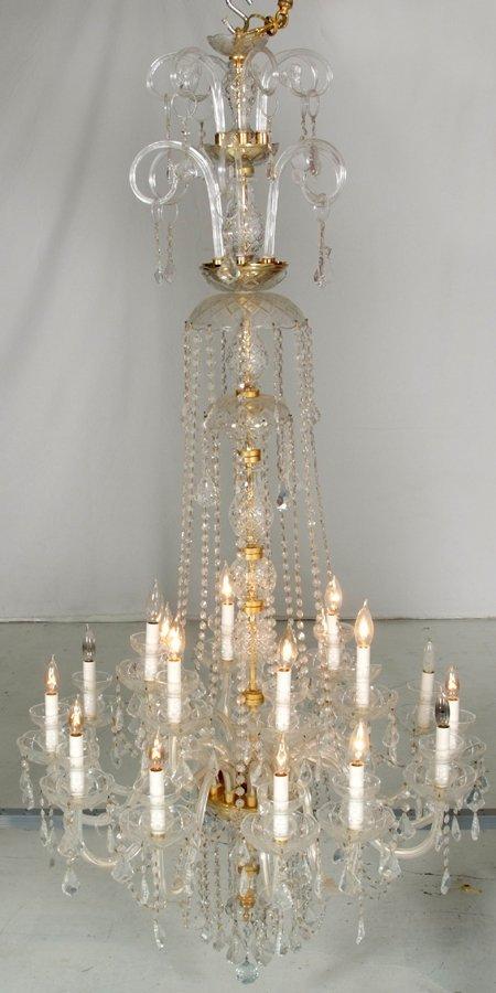 23:  Wonderful 18 Lite Crystal and Brass Chandelier  65