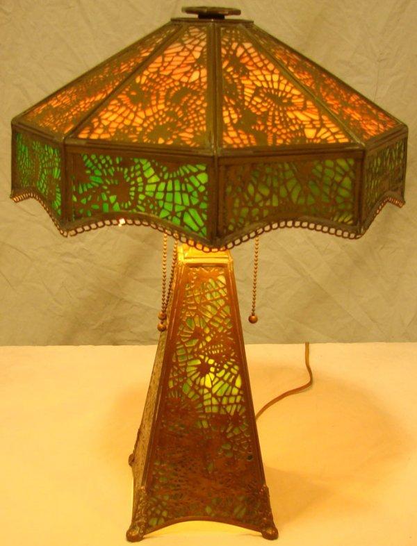 25: Rare  Apollo Studios  Slag Glass Desk Lamp Tiffany