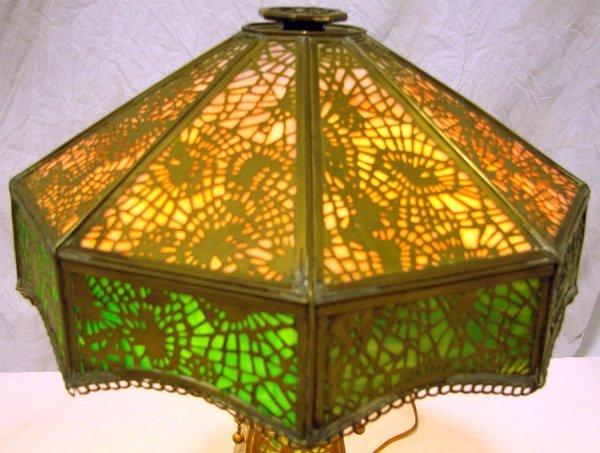 25: Rare  Apollo Studios  Slag Glass Desk Lamp Tiffany  - 2