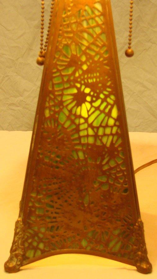 25: Rare  Apollo Studios  Slag Glass Desk Lamp Tiffany  - 4