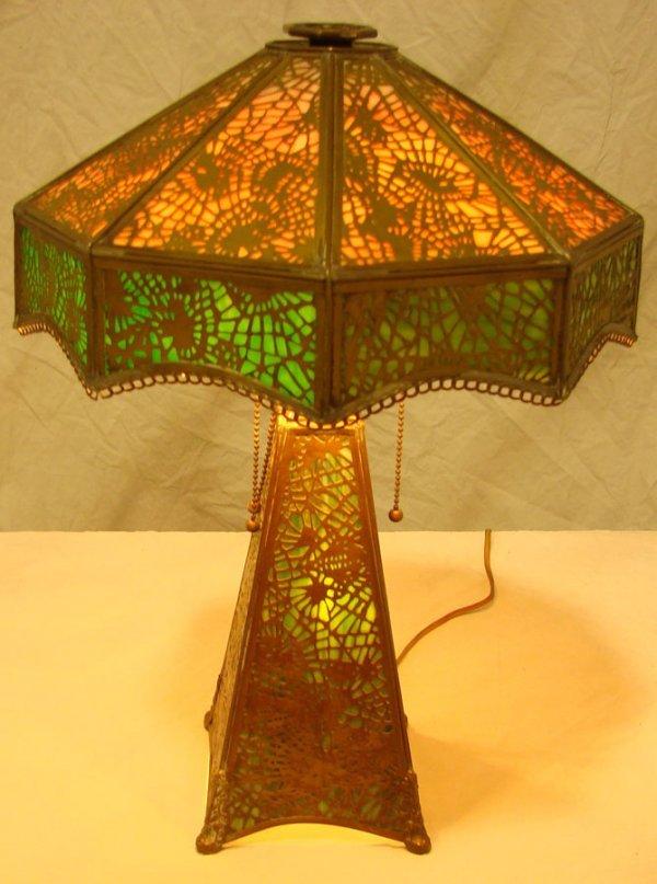 25: Rare  Apollo Studios  Slag Glass Desk Lamp Tiffany  - 5